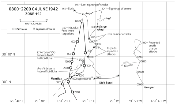 Excerpt from The Search for the Japanese Fleet. Location of dive bomber attacks at 1020 is closer to Nautilus position at 1941 than attack at 1400. Illustration by Bethany Jourdan.