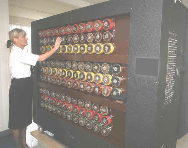 "Rebuilt British decoding ""Bombe"" at Bletchley Park, designed by Alan Turing and others as featured in the recent movie Imitation Game."