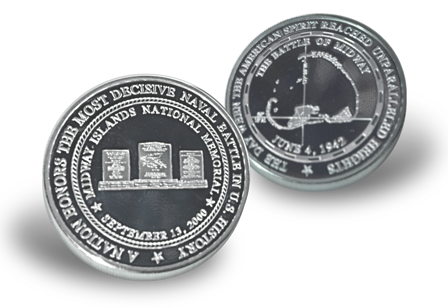 Silver commemorative coin awarded by the International Midway Memorial Foundation